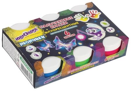Краски пальчиковые флуоресцентные Неончики 6 цветов в баночках