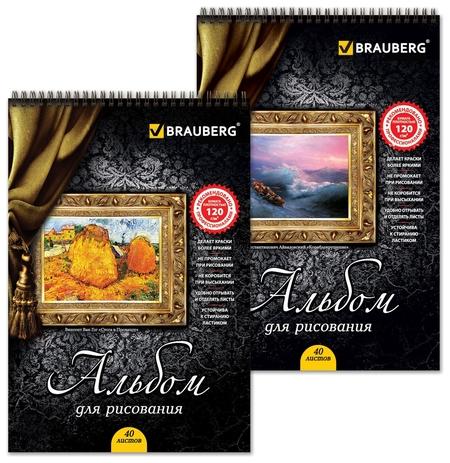 """Альбом для рисования, А4, 40 листов """"Картина"""" 2 вида  Brauberg"""