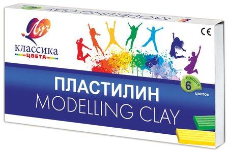 """Пластилин классический """"Классика"""", 6 цветов, со стеком  Луч"""