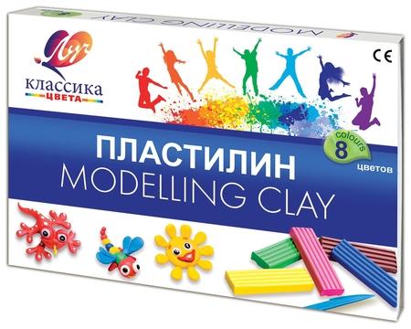 """Пластилин классический """"Классика"""", 8 цветов, со стеком, картонная упаковка  Луч"""