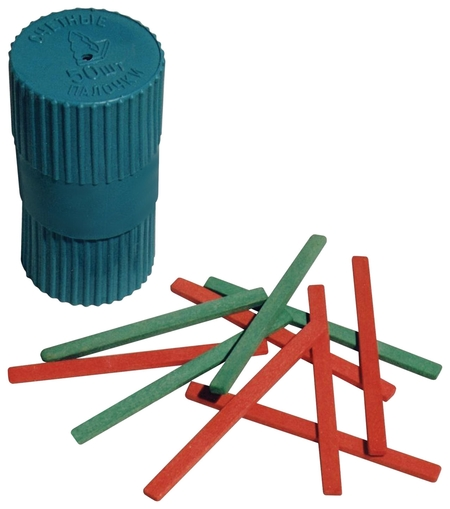 Счетные палочки 50 штук двухцветные, из натурального дерева, в пластиковом тубусе  Можга