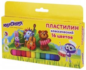 """Пластилин классический """"Юнландик-музыкант"""", 16 цветов, высшее качество  Юнландия"""