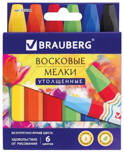 Восковые мелки утолщенные Академия 6 цветов, на масляной основе, яркие цвета  Brauberg