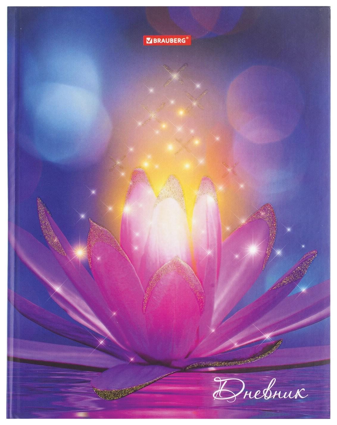 """Дневник 5-11 класс 48 л., твердый, блестки, с подсказом, """"Удивительный цветок""""  Brauberg"""