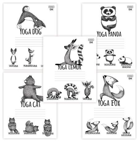 Тетрадь 24 л. клетка Animals Yoga  Hatber
