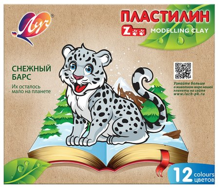 "Пластилин классический ""Zoo"", 12 цветов  Луч"