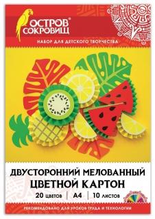 """Картон цветной А4 """"Фрукты""""  Остров сокровищ"""