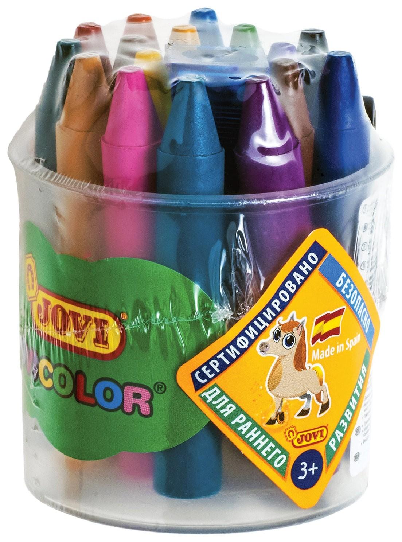 Восковые мелки утолщенные 16 цветов, детские от 3 лет, пластиковый стакан, точилка  Jovi