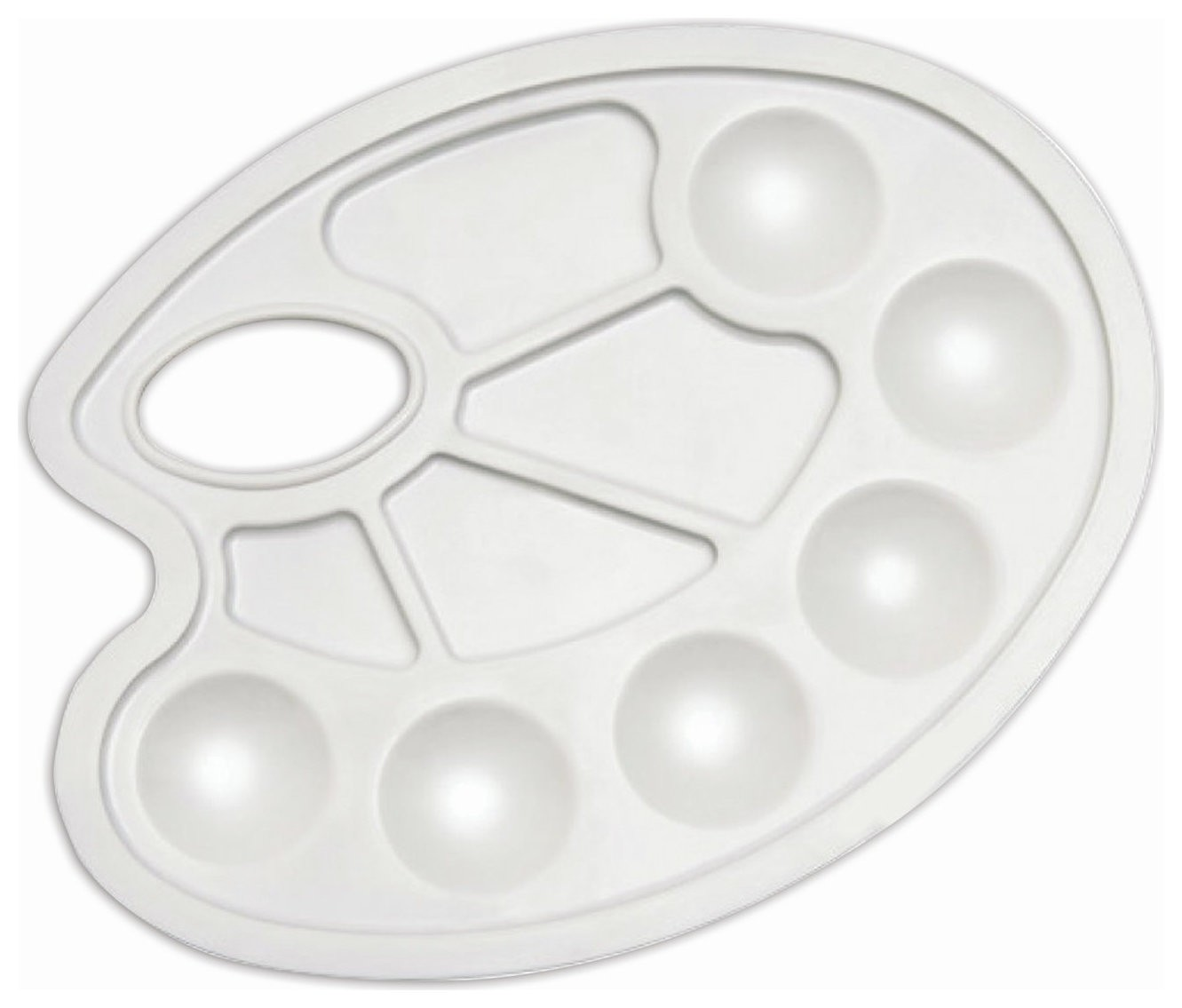 Палитра для рисования белая, овальная, 6 ячеек для красок и 4 ячейки для смешивания  Пифагор