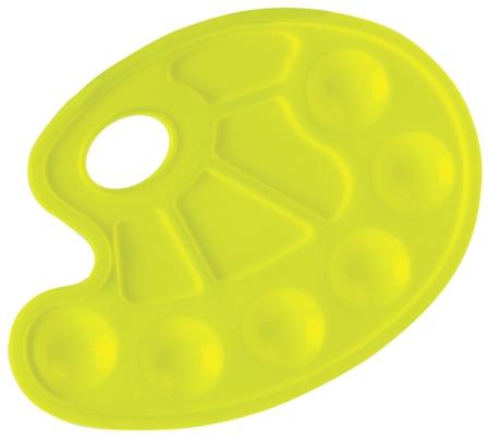 Палитра для рисования желтая, овальная, 6 ячеек для красок и 4 для смешивания Юнландия