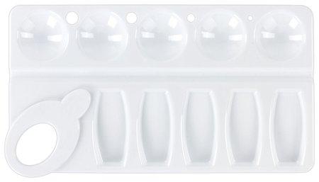 Палитра для рисования белая, пластиковая, прямоугольная, 10 ячеек  Пифагор
