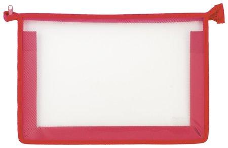 Папка для тетрадей а4 пластик, молния сверху, прозрачная, красная  Пифагор