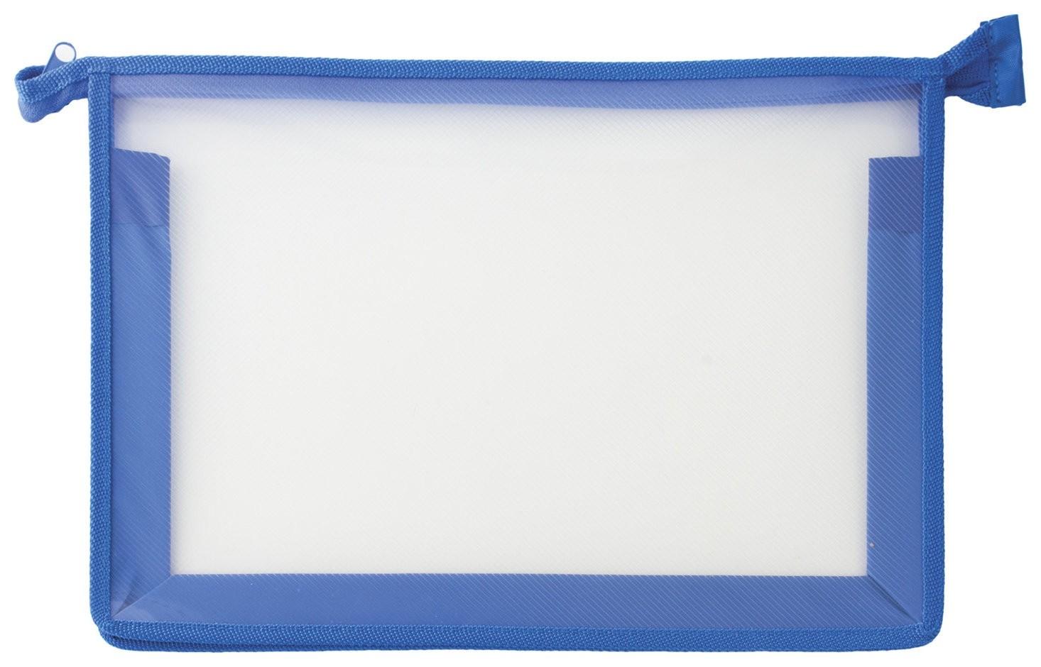 Папка для тетрадей а4 пластик, молния сверху, прозрачная, синяя  Пифагор