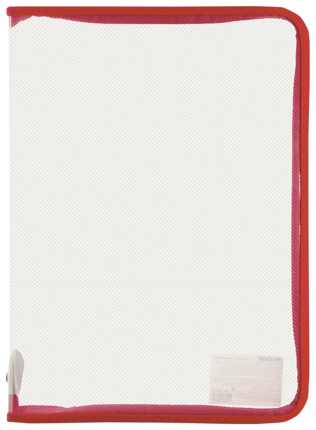 Папка для тетрадей а4 пластик, молния вокруг, прозрачная, красная  Пифагор