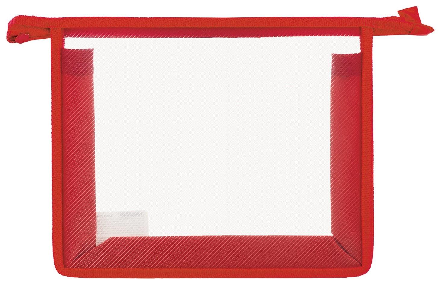 Папка для тетрадей а5 пластик, молния сверху, прозрачная, красная  Пифагор