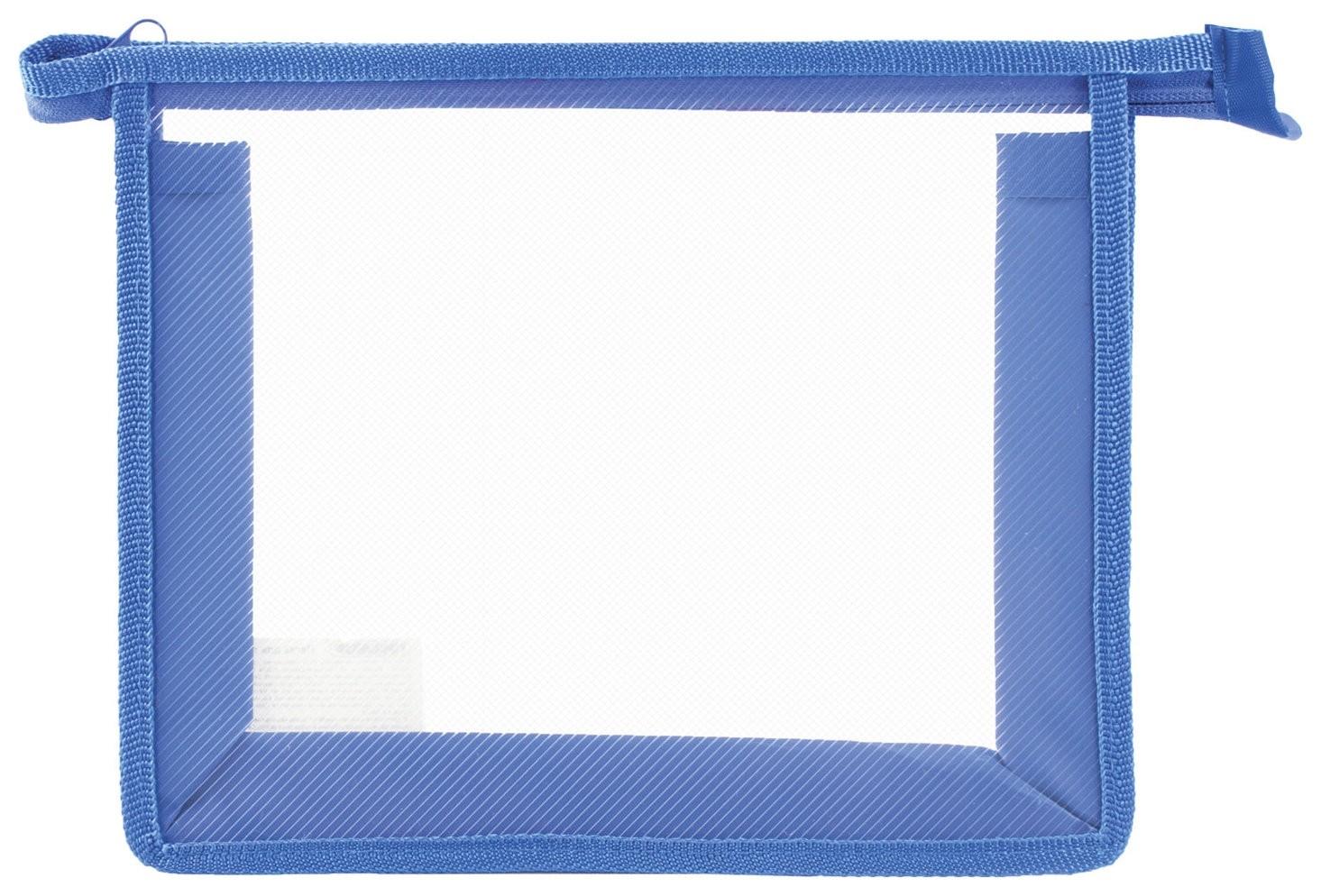 Папка для тетрадей а5 пластик, молния сверху, прозрачная, синяя  Пифагор