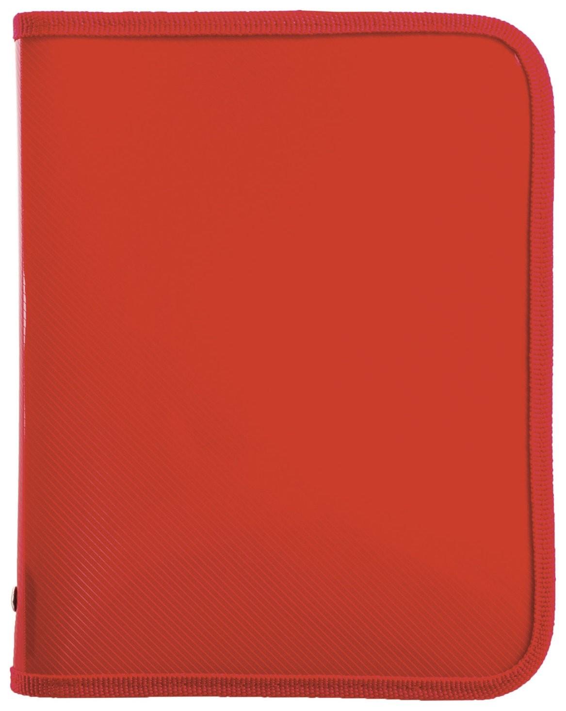 Папка для тетрадей а5 пластик, молния вокруг, один тон, красная  Пифагор