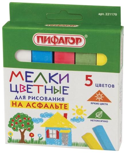 Мел цветной набор 5 шт., для рисования на асфальте, квадратный  Пифагор