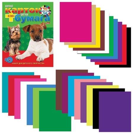 Набор цветного картона и бумаги А4 Щенки  Hatber