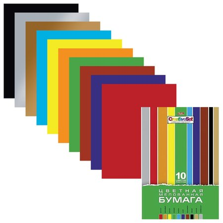 Цветная бумага А4 мелованная в папке Creativ  Hatber