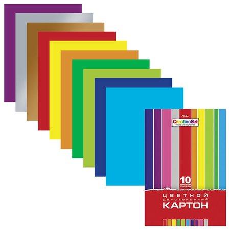 Картон цветной А4 Creative, 10 листов 10 цветов  Hatber