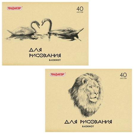 Блокнот для рисования, А4, 40 листов, обложка офсет, горизонтальный, Лебеди/лев