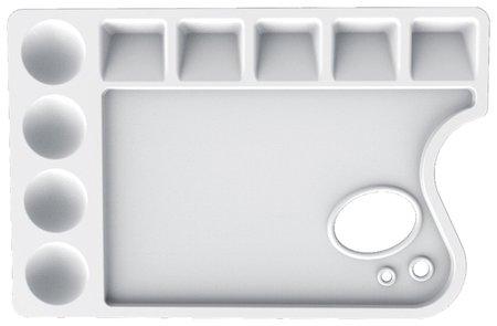 Палитра для рисования пластиковая, прямоугольная с отверстием, 23х15 см, толщина 10 мм   Луч