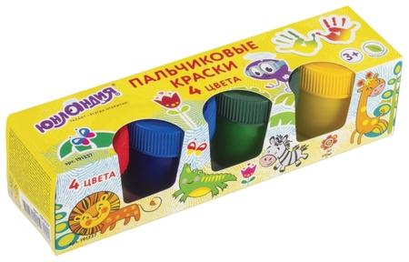 Краски пальчиковые Сафари 4 цвета в баночках Юнландия