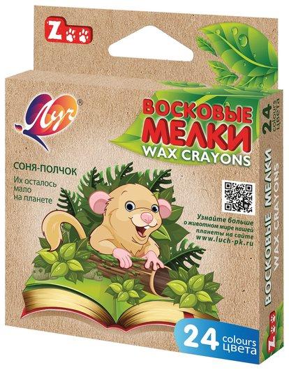 """Восковые мелки """"Zoo"""", 24 цвета, шестигранные, картонная упаковка с европодвесом   Луч"""