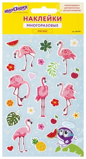 """Наклейки зефирные """"Фламинго"""", многоразовые, 10х15 см  Юнландия"""