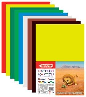 Картон цветной А4 матовый, 16 листов 8 цветов  Пифагор