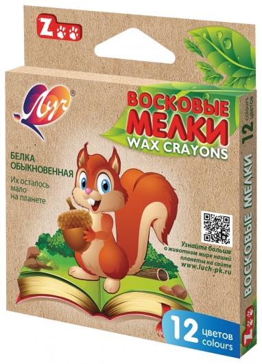 """Восковые мелки """"Zoo"""", 12 цветов, шестигранные, картонная упаковка с европодвесом   Луч"""