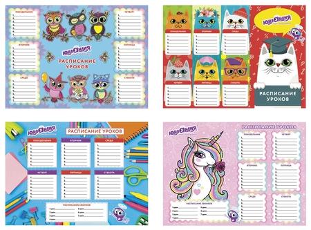 Расписание уроков и звонков А4 для девочек, бумага 170 г/м2   Юнландия