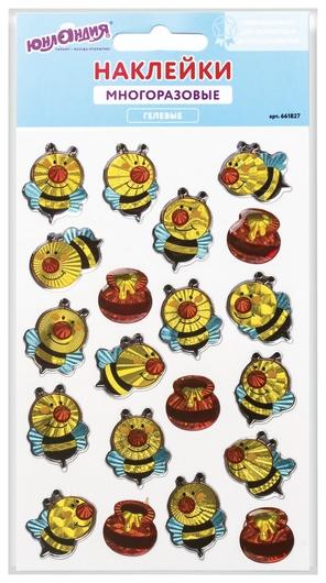 """Наклейки гелевые """"Весёлые пчёлки"""", многоразовые, голографические, 10х15 см   Юнландия"""