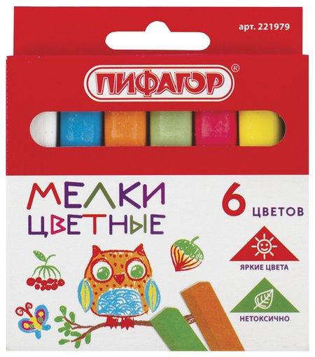 Мел цветной набор 6 шт., квадратный  Пифагор