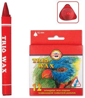 Восковые мелки Trio Wax 12 цветов, трехгранные, картонная упаковка с европодвесом   Koh-i-noor