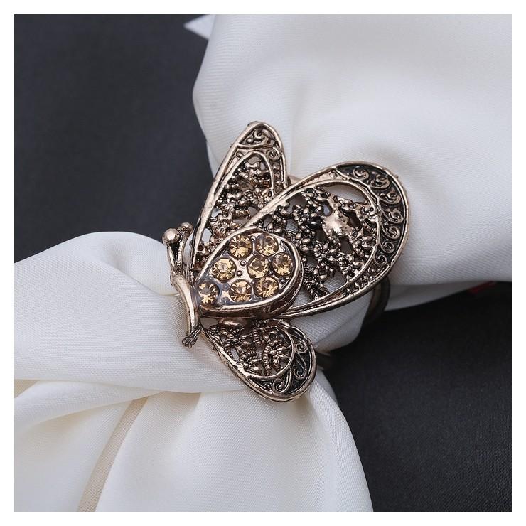 """Кольцо для платка """"Бабочка"""", цвет золотой в чернёном золоте  Queen Fair"""