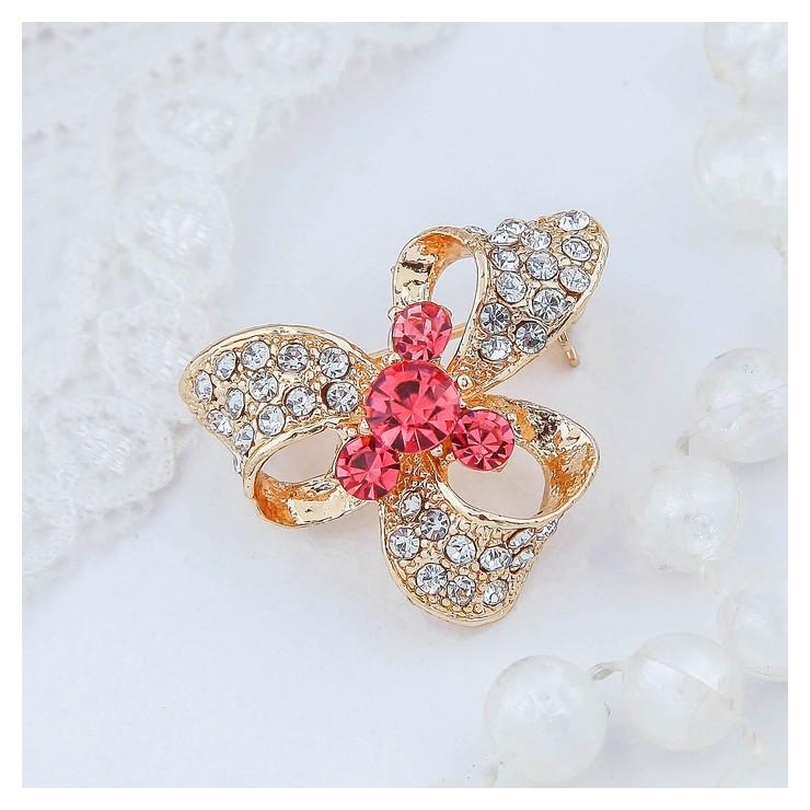 """Брошь """"Бант"""" с камнем, цвет бело-розовый в золоте  Queen Fair"""