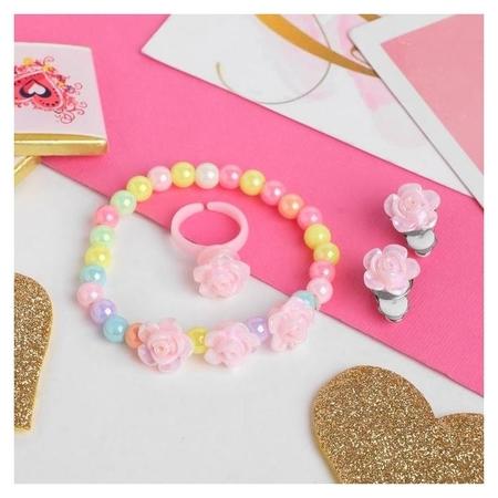 Набор детский 3 предмета клипсы, браслет, кольцо, розы  Выбражулька
