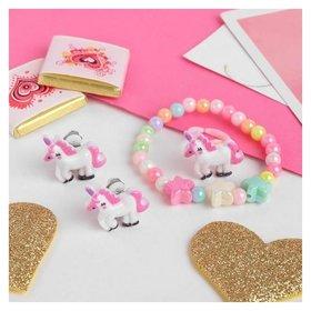 Набор детский 3 предмета клипсы, браслет, кольцо, единороги и звёзды Выбражулька