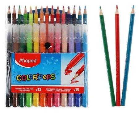 Набор для рисования Color'peps 12 фломастеров + 15 цветных карандашей, в футляре  Maped