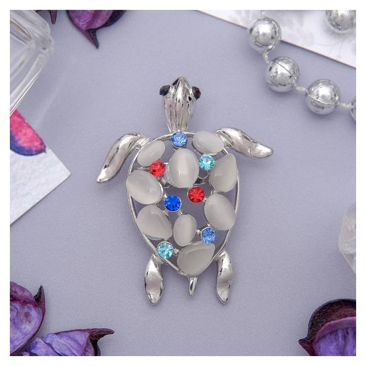 """Брошь """"Черепаха"""" морская, цветная в серебре  Queen Fair"""