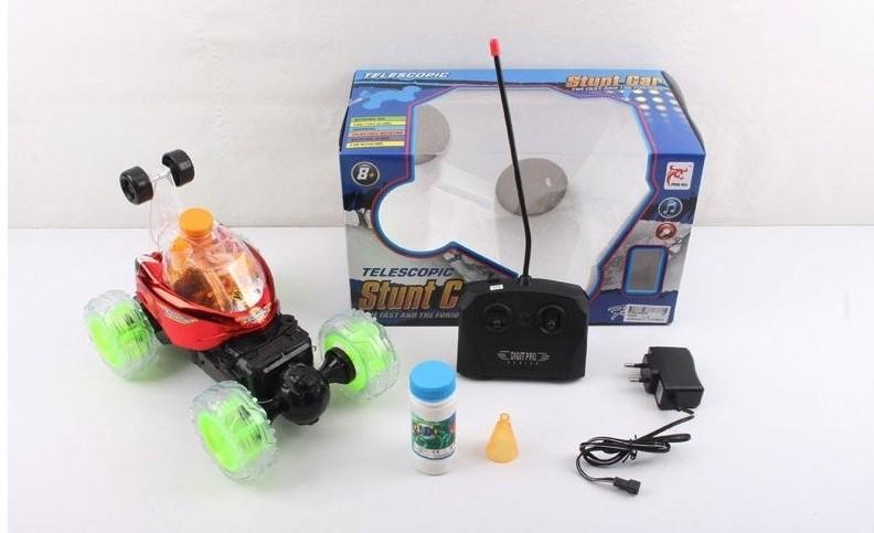 Машина-перевертыш гоночная радиоуправляемая с аккумулятором и мыльными пузырями  Наша игрушка