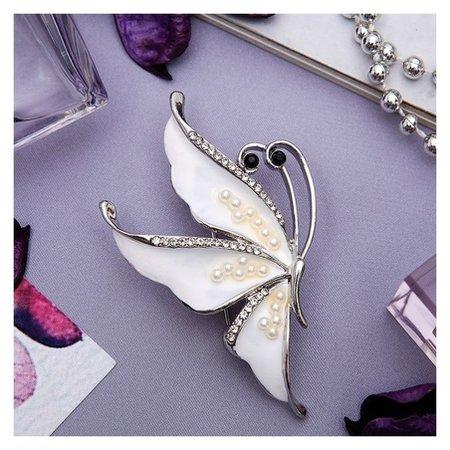Брошь Бабочка нежность, цвет белый в серебре Queen fair