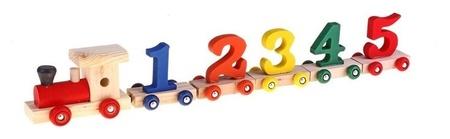 Конструктор Паровоз 6 вагонов с цифрами на магнитах  КНР Игрушки