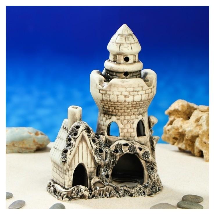 """Декорация для аквариума """"Башня с домиком"""", 9 х 14 х 22 см, микс  Керамика ручной работы"""