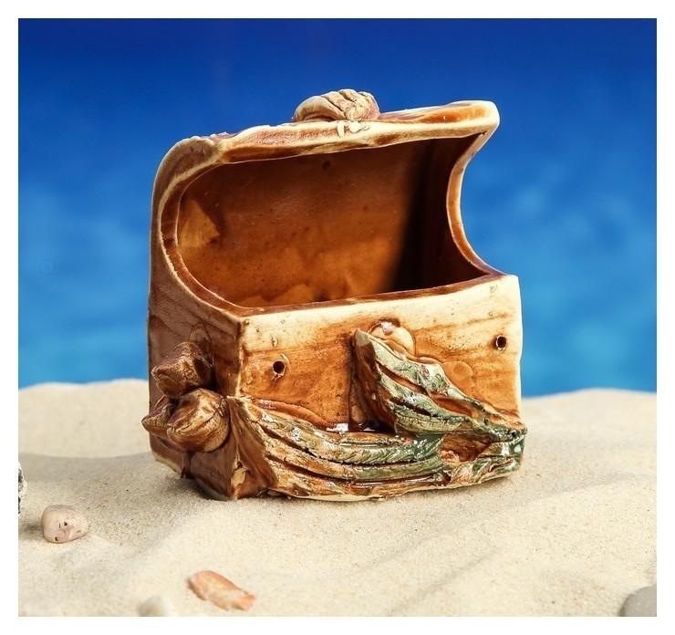 """Декорация для аквариума """"Сундук малый"""", 7 х 9 х 10 см, микс  Керамика ручной работы"""