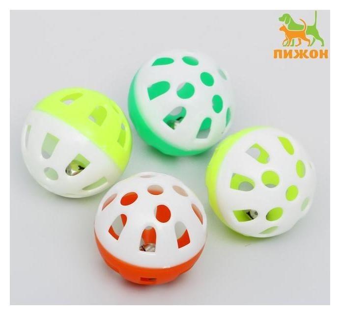 Набор из 4 шариков (диаметр шарика 4 см) с бубенчиком для кошек, микс цветов Пижон