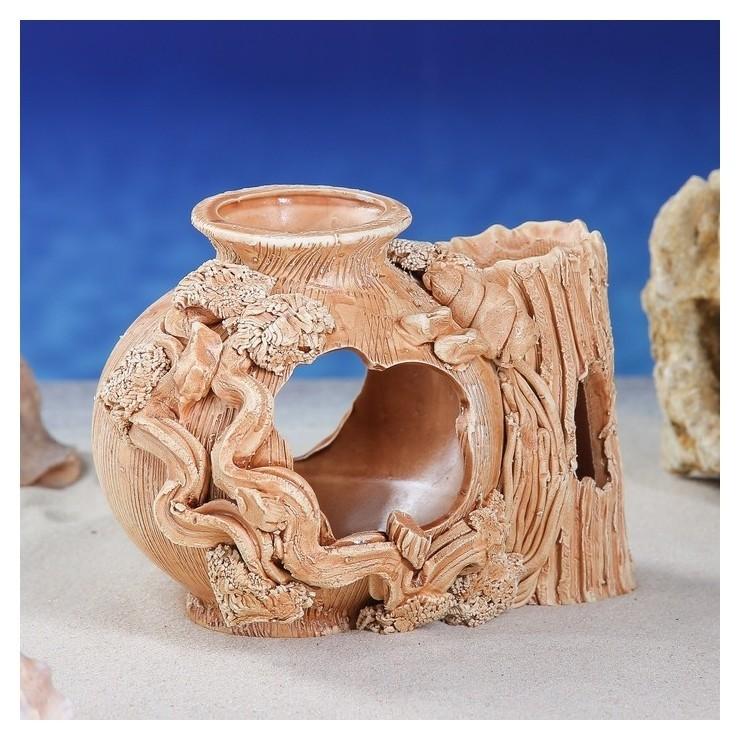 """Декорация для аквариума """"Шар в коряге"""", 10 х 17 х 15 см  Керамика ручной работы"""
