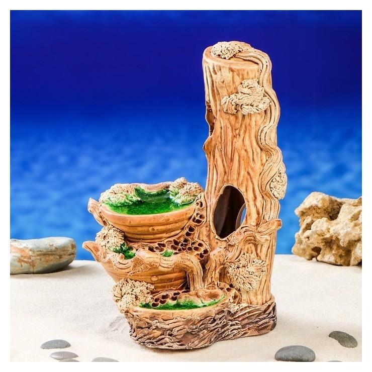 """Декорация для аквариума """"Бревно с озером"""", 17 х 16 х 24 см  Керамика ручной работы"""